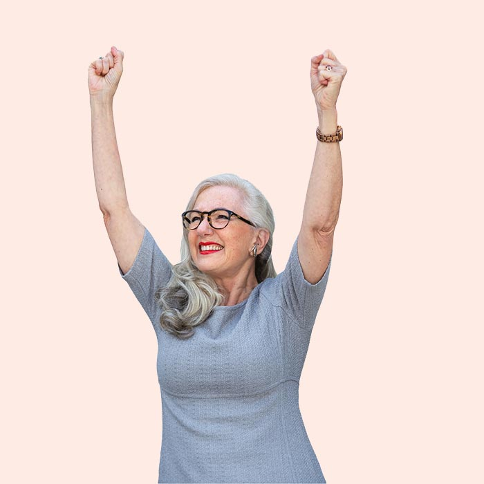 happy immigrant mother with arms in the air CTA support